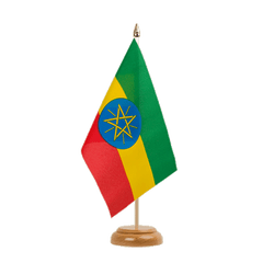 "Ethiopia with star Table Flag 6x9"", wooden"