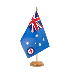 "Royal Australian Air Force Table Flag 6x9"", wooden"