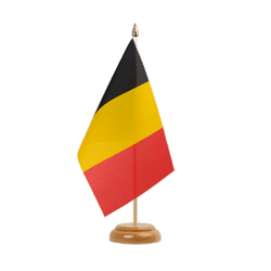 "Belgium Table Flag 6x9"", wooden"