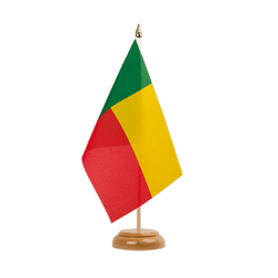 "Benin  Table Flag 6x9"", wooden"