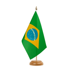 "Brazil Table Flag 6x9"", wooden"