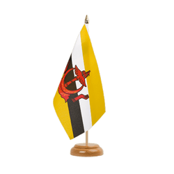 "Brunei Table Flag 6x9"", wooden"