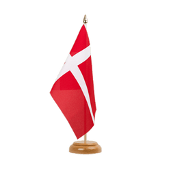 Drapeau de table Danemark - 15 x 22 cm, bois