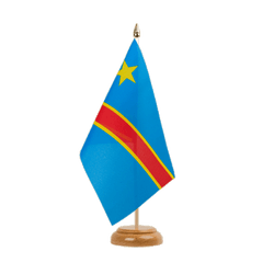 "Democratic Republic of the Congo Table Flag 6x9"", wooden"