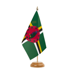 "Dominica Table Flag 6x9"", wooden"