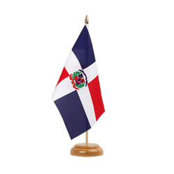 "Dominican Republic Table Flag 6x9"", wooden"