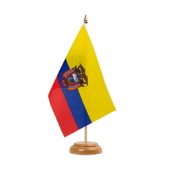 "Ecuador Table Flag 6x9"", wooden"