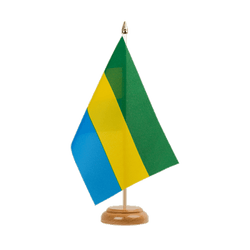 "Gabon Table Flag 6x9"", wooden"