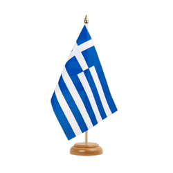 "Greece Table Flag 6x9"", wooden"
