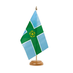 "Derbyshire - Table Flag 6x9"", wooden"