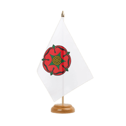 "Lancashire red rose Table Flag 6x9"", wooden"