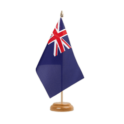 "United Kingdom Naval Blue Ensign 1659 Table Flag 6x9"", wooden"