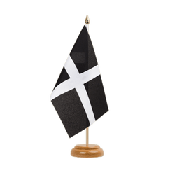 "St. Piran Cornwall Table Flag 6x9"", wooden"