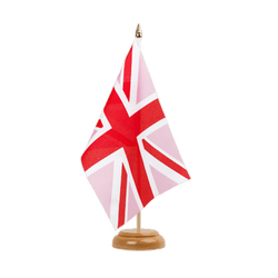 "Union Jack pink Table Flag 6x9"", wooden"