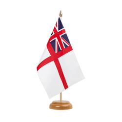 "Naval Ensign of the White Squadron - Table Flag 6x9"", wooden"