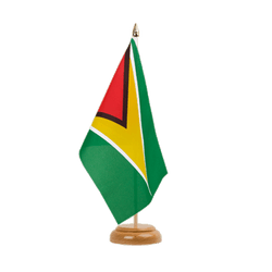 "Guyana Table Flag 6x9"", wooden"