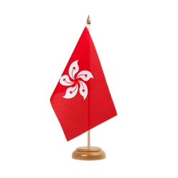 "Hong Kong  Table Flag 6x9"", wooden"