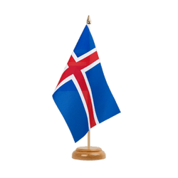 "Iceland Table Flag 6x9"", wooden"