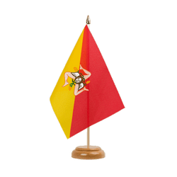 "Italy Sicily Table Flag 6x9"", wooden"