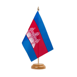 "Cambodia Table Flag 6x9"", wooden"