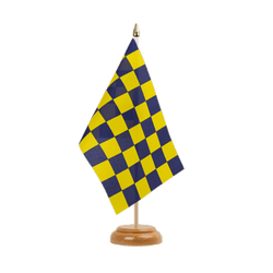 "Checkered Blue-Yellow Table Flag 6x9"", wooden"