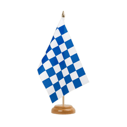 "Checkered blue-white Table Flag 6x9"", wooden"