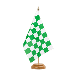 "Checkered Green-White Table Flag 6x9"", wooden"