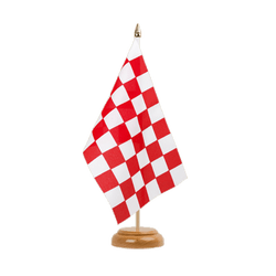 "Checkered Red-White - Table Flag 6x9"", wooden"