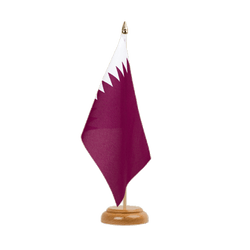 "Qatar Table Flag 6x9"", wooden"