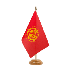 "Kyrgyzstan Table Flag 6x9"", wooden"