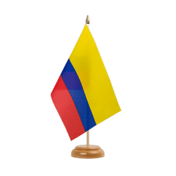 Drapeau de table Colombie - 15 x 22 cm, bois