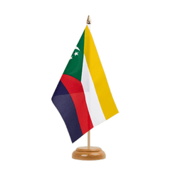 "Comoros Table Flag 6x9"", wooden"