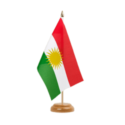 "Kurdistan Table Flag 6x9"", wooden"