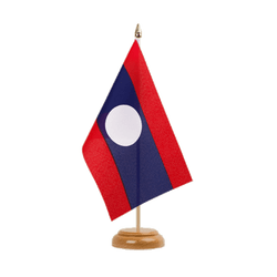 Drapeau de table Laos 15 x 22 cm, bois