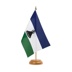 "Lesotho new Table Flag 6x9"", wooden"