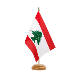 Drapeau de table Liban 15 x 22 cm, bois