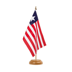 "Liberia Table Flag 6x9"", wooden"