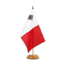 "Malta Table Flag 6x9"", wooden"