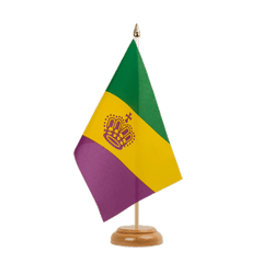 "Mardi Gras Table Flag 6x9"", wooden"