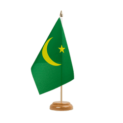 "Mauritania - Table Flag 6x9"", wooden"