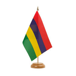 "Mauritius Table Flag 6x9"", wooden"