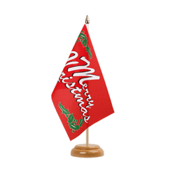 "Merry Christmas Table Flag 6x9"", wooden"