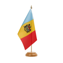 "Moldova Table Flag 6x9"", wooden"