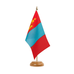 "Mongolia Table Flag 6x9"", wooden"