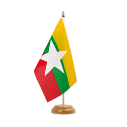 "Myanmar new Table Flag 6x9"", wooden"