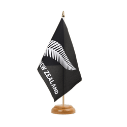 "New Zealand feather all blacks Table Flag 6x9"", wooden"