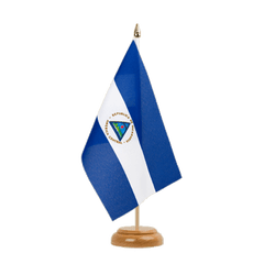 "Nicaragua Table Flag 6x9"", wooden"