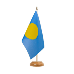 "Palau Table Flag 6x9"", wooden"