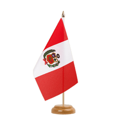 "Peru Table Flag 6x9"", wooden"