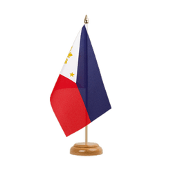 Drapeau de table Philippines 15 x 22 cm, bois